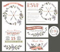 Vintage wedding design template set with flowers Royalty Free Stock Photo