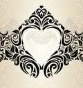 Vintage wedding gold ecru black fashionable invitation wallpaper background with hearts ornament Stock Image