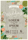 Vintage wedding invitation card with cute flourish background Royalty Free Stock Photo