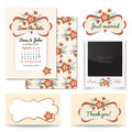 Vintage wedding invitation design sets include Invitation card, Just married, Thank you card, Table number, photo frame