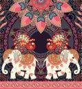 Vintage wedding invitation, greeting card or luxury seamless retro pattern with exotic elephants, peacocks, mandala and paisley