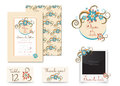 Vintage wedding invitation set design. Template vector place card, thank you card, save the date badge and photo frame