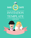 Vintage wedding romantic invitation card with ribbon, ring, bride and groom in flat style. Save the Date in vector.