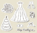 Vintage wedding set. Stock Photos