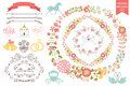 Vintage wedding set.Floral wreath,icons, swirling Royalty Free Stock Photo