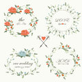 Vintage wedding set with romantic flowers in retro style Stock Photography