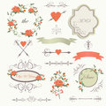 Vintage wedding set with romantic roses flowers frames hearts arrows bows in retro style Stock Images