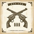 Vintage western revolvers in woodcut style editable eps vector illustration Stock Images