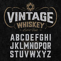 Vintage whiskey label font with sample design Royalty Free Stock Photo