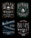 Vintage Whiskey Label T-shirt Graphic Set Royalty Free Stock Photo