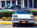 Vintage white car near revolution museum havana on the street of old city cuba Royalty Free Stock Images