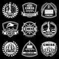 Vintage White Chess Logos Set Royalty Free Stock Photo