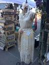 Vintage white dress at flee market. Royalty Free Stock Photo