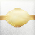 Vintage white invitation with golden label Stock Images