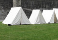 Vintage white military army tents Royalty Free Stock Photo