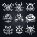 Vintage White Viking Emblems Set