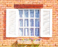Vintage white window on red brick wall Royalty Free Stock Photography
