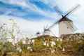Vintage windmills in La Mancha. Stock Image