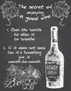 Vintage wine chalkboard vector typography poster