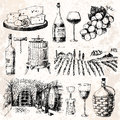 Vintage winery wine production handmade draft winemaking sketch fermentation grape drink vector illustration