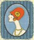 Vintage woman face in fashion hat.Retro Royalty Free Stock Images