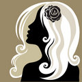 Vintage woman with flower in the hair Royalty Free Stock Photo