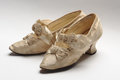 Vintage woman shoes pair of antique women pretty decorated with bows Stock Photos