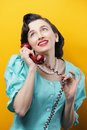Vintage woman talking on the phone Royalty Free Stock Images