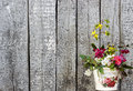 Vintage Wood Background with Flowers Shabby Chic Royalty Free Stock Photo
