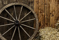 Vintage wooden carriage wheel Royalty Free Stock Photo