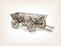 Vintage wooden cart hand drawn sketch vector