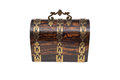 A Vintage Wooden Chest-Type Jewelry Box with Handle Raised Royalty Free Stock Photo