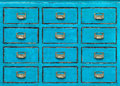 Vintage wooden drawer in blue Stock Images