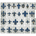 Vintage Wooden Fleur De Lis Collection New Orleans Street Tiles Royalty Free Stock Photo