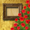 Vintage wooden frame with red rose and green leaves Royalty Free Stock Photography
