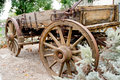 Vintage wooden freight hauling wagon brown front Royalty Free Stock Image