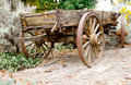 Vintage wooden freight hauling wagon brown rear Stock Photography