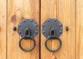 Vintage wooden gate with two door knocker closeup