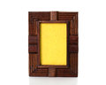 Vintage wooden picture frame on  white background Royalty Free Stock Photo