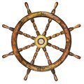 Vintage wooden ship steering wheel isolated on white Royalty Free Stock Photo
