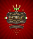 Vintage wooden sign of italian restaurant decorative with golden decor and lettering Royalty Free Stock Photos