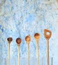 Vintage wooden spoons kitchen utensils free copy space Royalty Free Stock Photography