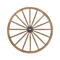 Vintage wooden wagon wheel isolated. Stock Photo