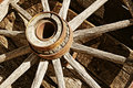 Vintage Wooden Wagon Wheel (sepia) Stock Photography