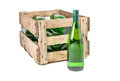Vintage wooden wine crate filled white wine bottles with Stock Photo