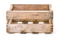 Vintage wooden wine crate on a white background Royalty Free Stock Photos