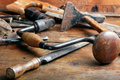 Vintage woodworking tools Royalty Free Stock Photos