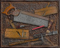 Vintage woodworking tools over rusty plate industrial metal Royalty Free Stock Photo