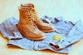 Vintage workwear close up clothing Royalty Free Stock Photos