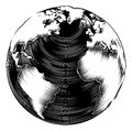 Vintage world globe illustration in a retro woodblock style Stock Photos